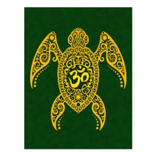 Yellow Om Sea Turtle on Green Postcard