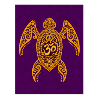 Yellow Om Sea Turtle on Purple Postcard