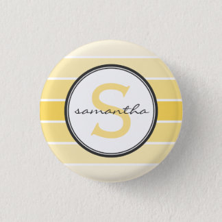 Yellow Ombre Monogram Pinback Button
