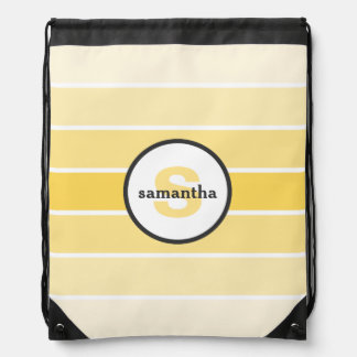 Yellow Ombre Monogram Drawstring Backpack