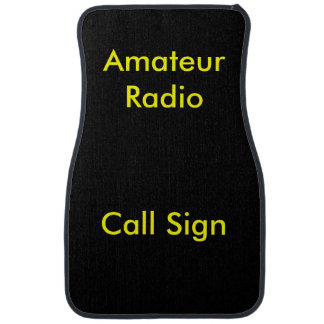 Yellow on Black Amateur Radio Call Sign Floor Mat