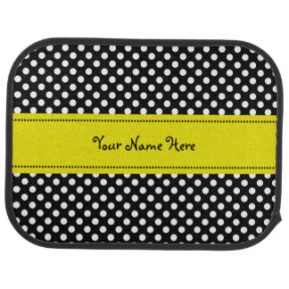 Yellow on Black and White Polka Dots Floor Mat