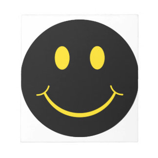 Yellow on Black Smiley Face Notepad