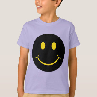 Yellow on Black Smiley Face T-Shirt