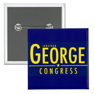 Yellow on Blue George for Congress Square Button