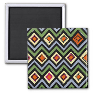 Yellow on Green Diamonds Abstract Art 2 Inch Square Magnet
