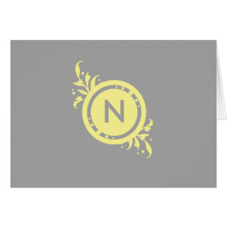 Yellow on Grey Floral Monogram Card