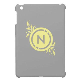 Yellow on Grey Floral Monogram iPad Mini Cover