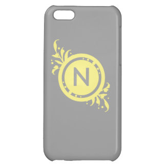 Yellow on Grey Floral Monogram iPhone 5C Cases