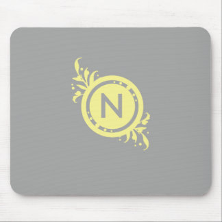 Yellow on Grey Floral Monogram Mouse Pad