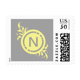 Yellow on Grey Floral Monogram Postage