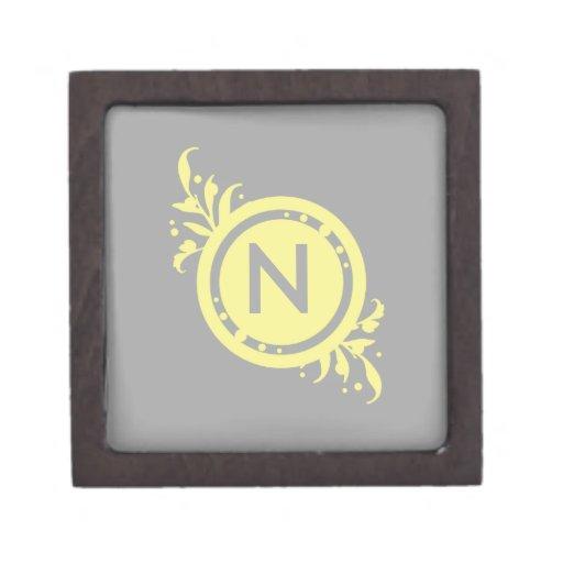 Yellow on Grey Floral Monogram Premium Jewelry Box
