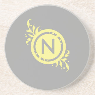 Yellow on Grey Floral Monogram Sandstone Coaster