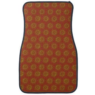 Yellow on Orange Solar Sun Pattern Floor Mat