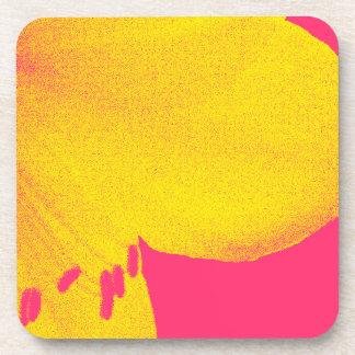 yellow on pink amaryllis closeup beverage coaster