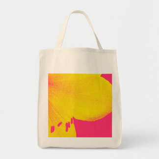 yellow on pink amaryllis closeup tote bag