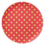 Yellow on Red Polka Dots Pattern Plates