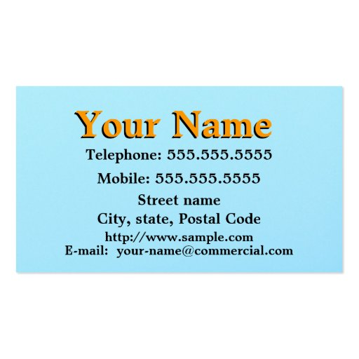 Yellow On Sky Blue Business Card Template