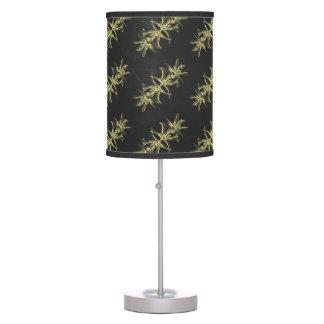 Yellow on Steel Grey Damask Pattern Table Lamp
