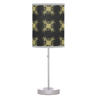 Yellow on Steel Grey Floral Damask Desk Lamp