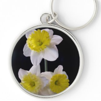 Yellow on White Daffodil zazzle_keychain