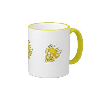 Yellow one eye spiral creature ringer coffee mug
