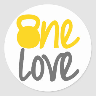 "Yellow ""One Love"" Kettlebell Classic Round Sticker"