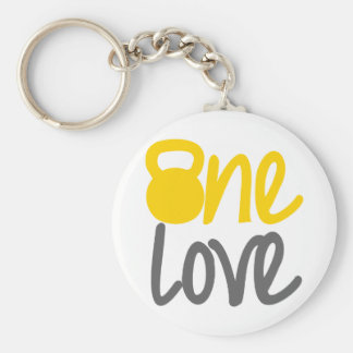 "Yellow ""One Love"" Kettlebell Key Chain"