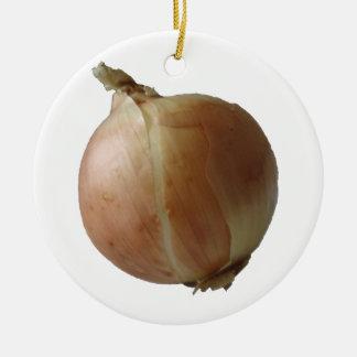 Yellow Onion Ceramic Ornament