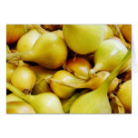 Yellow onions greeting cards