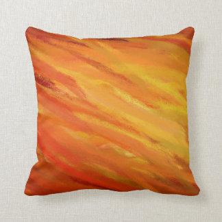 Yellow Orange Abstract Art Painting 3 Throw Pillows