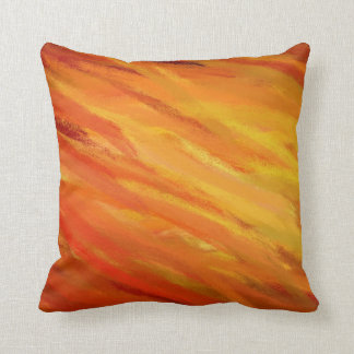 Yellow Orange Abstract Art Painting 3 Throw Pillow