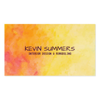Yellow & Orange Abstract Watercolors Background Business Card