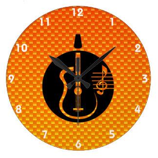 Yellow Orange Acoustic Guitar Round Clocks