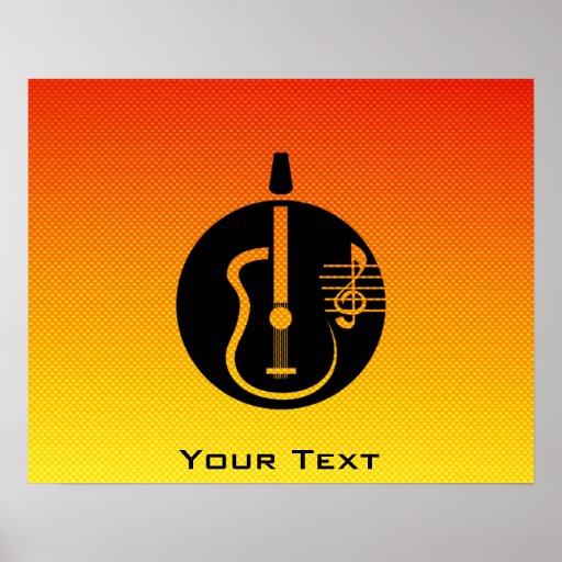 Yellow Orange Acoustic Guitar Poster