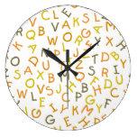 Yellow & Orange Alphabet Pattern Clock