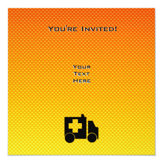 Yellow Orange Ambulance Invite
