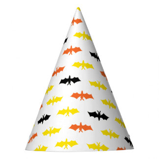 Yellow Orange and Black Bat Party  Hat
