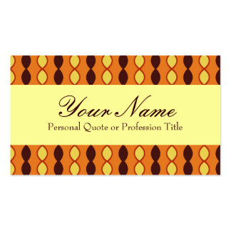 Yellow Orange and Brown Retro 70's Pattern Business Card Templates