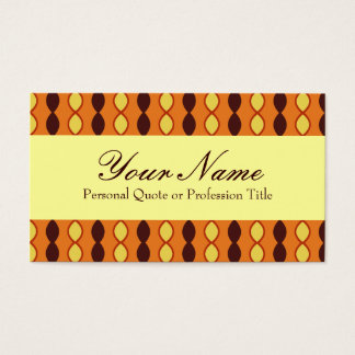 Yellow Orange and Brown Retro 70's Pattern Business Card