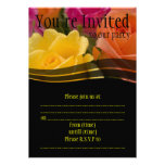 Yellow Orange and Pink Rose Flowers Invites