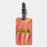 [ Thumbnail: Yellow, Orange and Purple Curved Ripples Pattern Luggage Tag ]