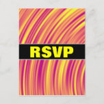 [ Thumbnail: Yellow, Orange and Purple Curved Ripples Pattern Postcard ]