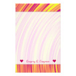 [ Thumbnail: Yellow, Orange and Purple Curved Ripples Pattern Stationery ]