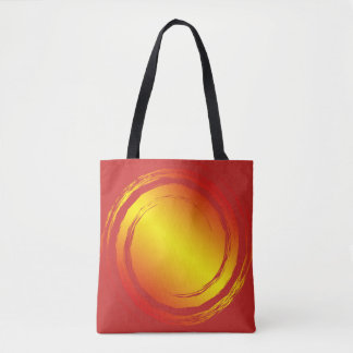 Yellow orange and red fiery sun beach grocery tote bag