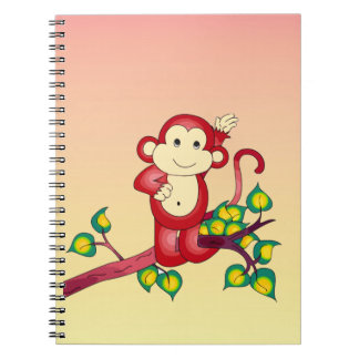 Yellow Orange and Red Monkey Animal Notebook
