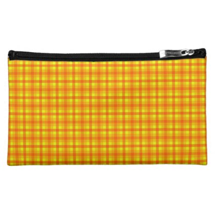Yellow Orange and Red Retro Chequed Pattern Makeup Bag