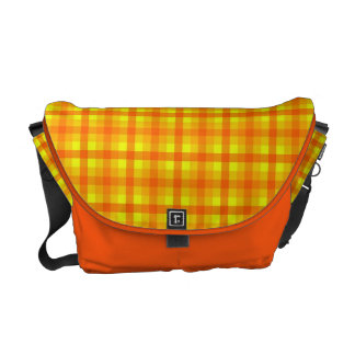 Yellow Orange and Red Retro Chequed Pattern Messenger Bag