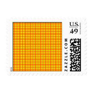 Yellow Orange and Red Retro Chequed Pattern Postage