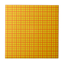 Yellow Orange and Red Retro Chequered Pattern Ceramic Tile